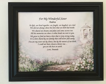 Birthday Gifts For Sister Gift Personalized Poem Frame Included From Brother