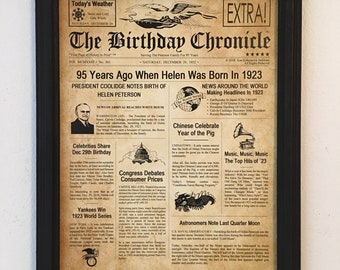 FRAMED 95th Birthday Gift Party Decor 1923 Gifts 95 Years Old Ideas Facts