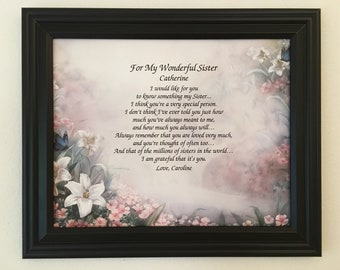 Gift For Sister Birthday Gifts Personalized Poem Frame Included From Brother