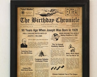 90th Birthday Gift Party Decor 1928 Gifts Frame Included Happy Ideas Fun Facts