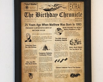 FRAMED 25th Birthday Gift Party Decor 1993 Gifts 25 Years Old Ideas Facts