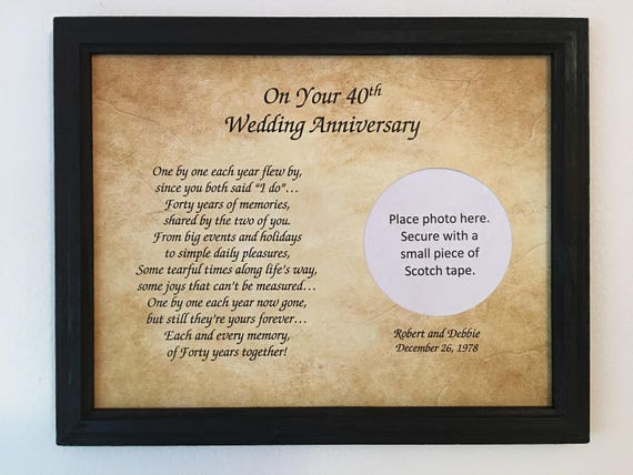 What Is The Traditional Gift For A 40th Wedding Anniversary: 40 Year Anniversary 40th Anniversary Gift 40th Wedding