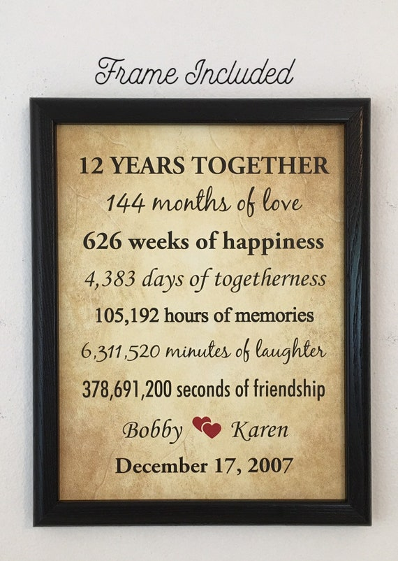 12th Anniversary Gifts 12 Year Anniversary Framed 12th Etsy