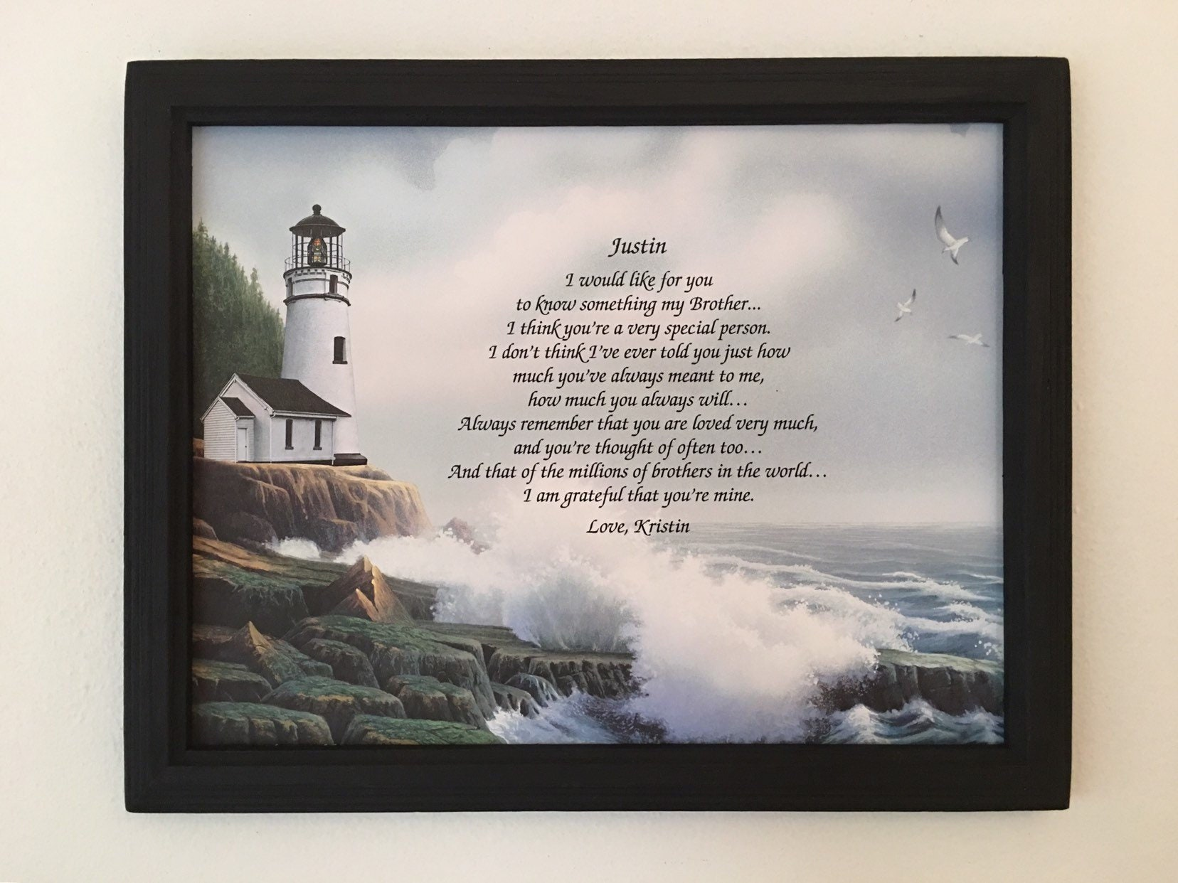 Birthday Gift For Brother Gifts Personalized Poem Frame Included From Sister
