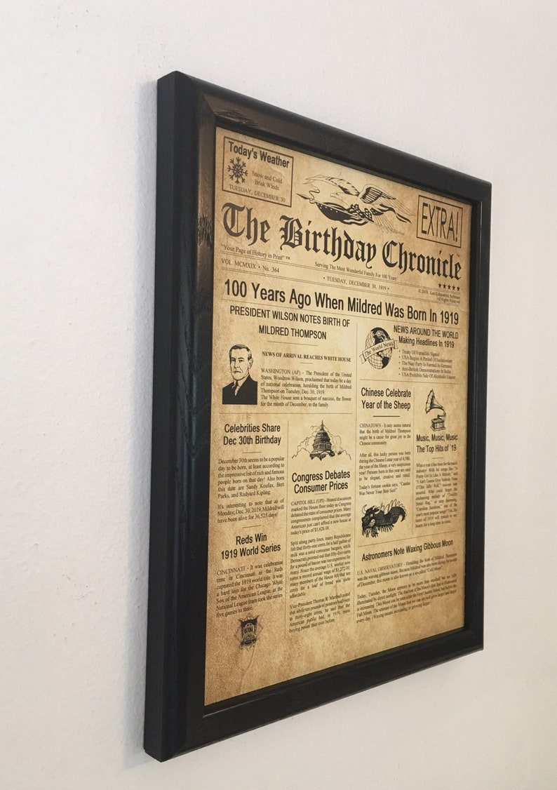 100th Birthday Gift, 100th Birthday, 100th Birthday Party Decor, 1919  Birthday Gifts, Frame Included, Happy Birthday Gift Ideas, 1919 Facts