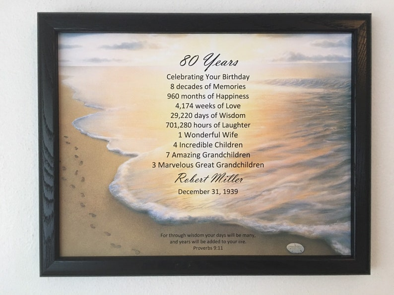 FRAMED 80th Birthday Gift Religious
