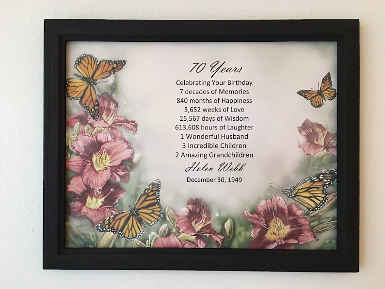 FRAMED 70th Birthday Gift Milestone Born In 1949