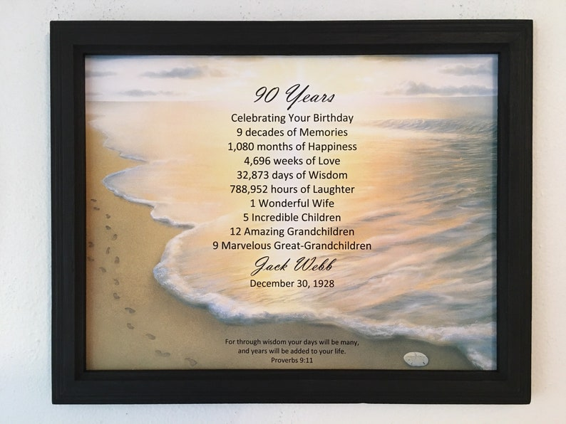 FRAMED 90th Birthday Gift Religious