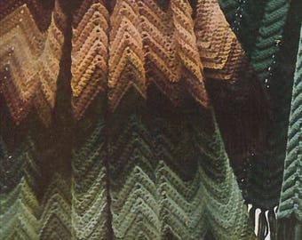 Vintage Zig Zag Multi-Color Afghan Crochet Pattern PDF 1960