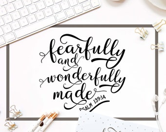 Fearfully and wonderfully made svg file for cut Bible verse svg cutting file DIY Christian svg Baby girl gift SVG Cricut file Psalm 139:14