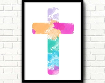 Christian cross printable Religious wall art Watercolor cross print Christian home decor Catholic printable art Religious decor Jesus Christ