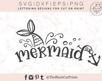 Mermaid SVG Heat transfer vinyl Mermaid tail svg Summer SVG file for Cricut Ocean SVG cutting file Iron on T-shirt design Silhouette svg