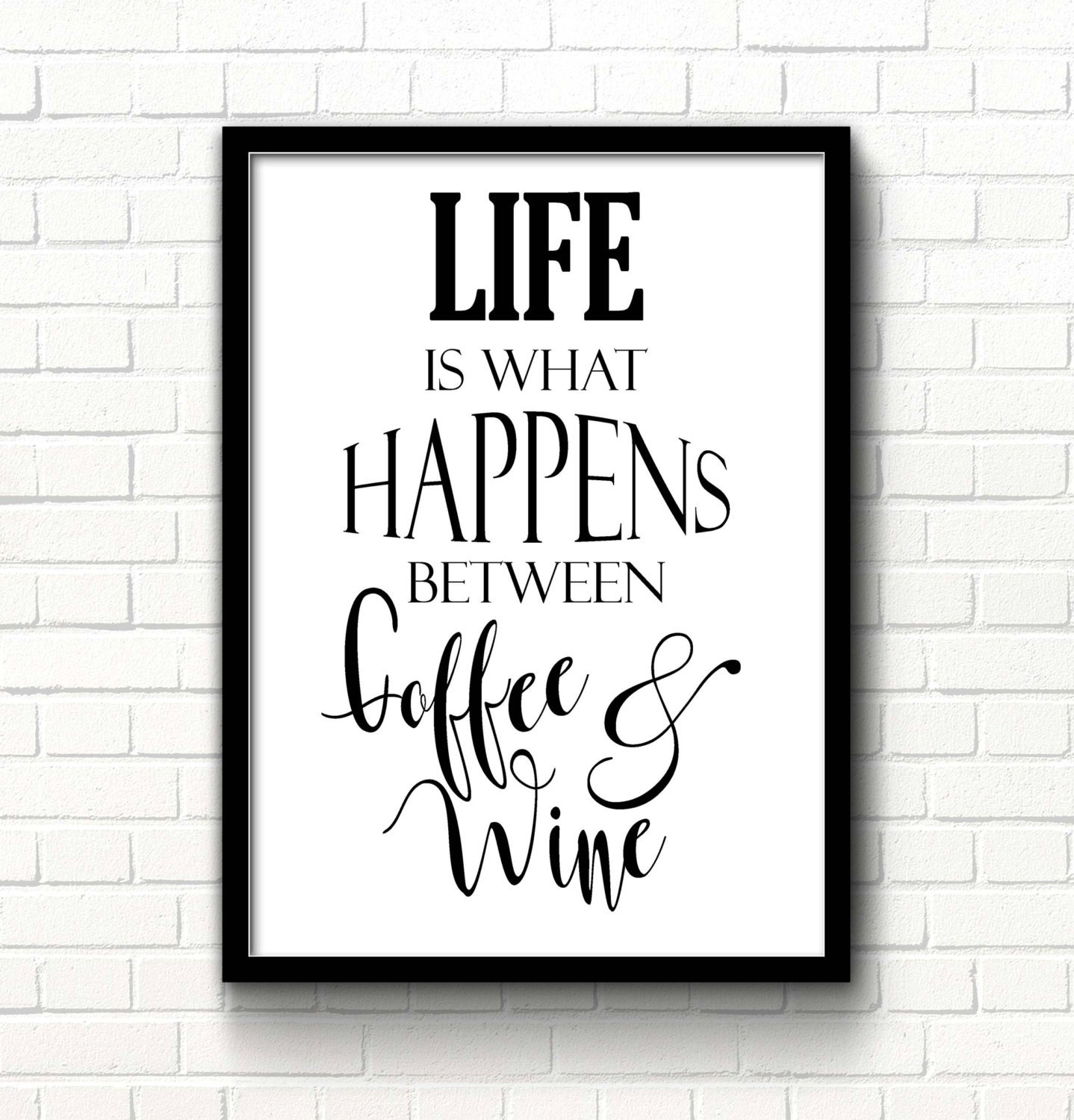 picture about Printable Quotes About Life known as Printable quotations Existence is what comes about in between espresso wine Kitchen area wall decor Existence estimate Wine print Espresso quotation Wall artwork print Typography