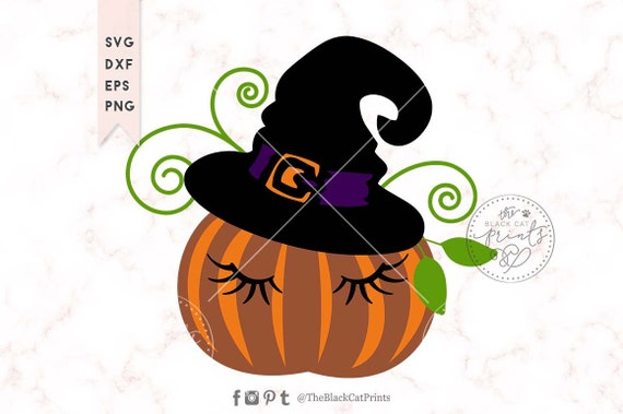 Funny Pumpkin Wearing Witch Hat Svg For Cricut And Silhouette Etsy