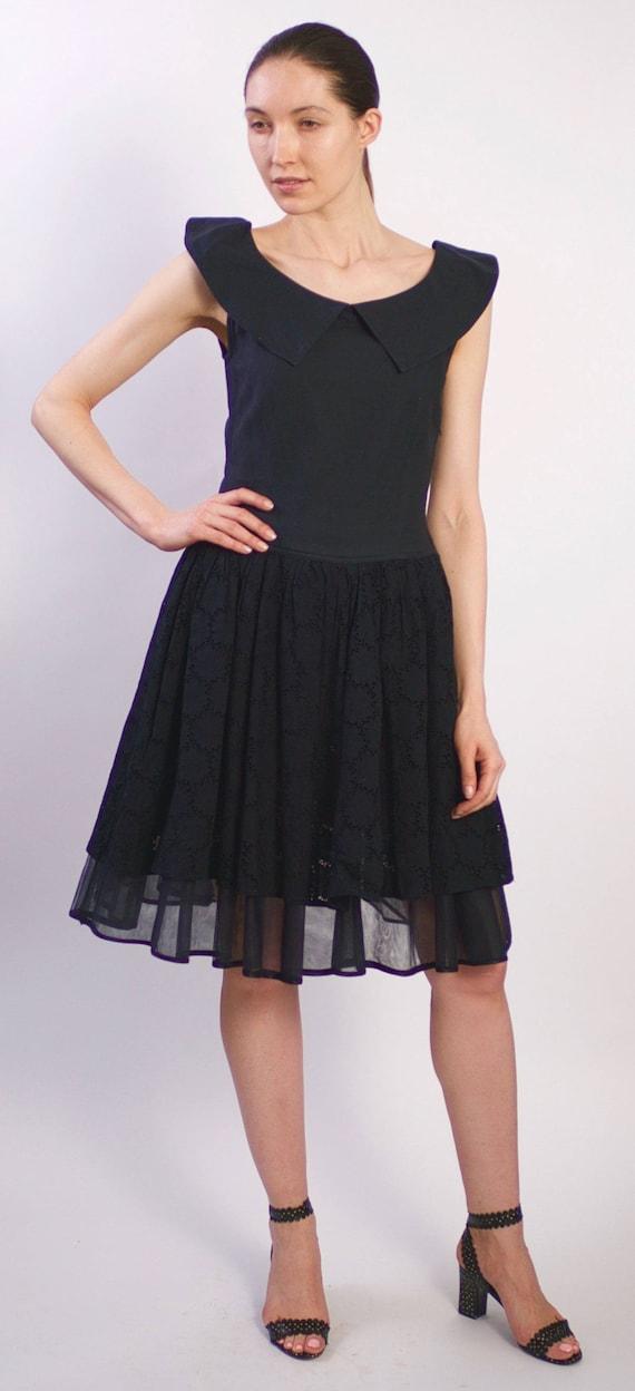 Vintage 1950s Cotton Eyelet Dress