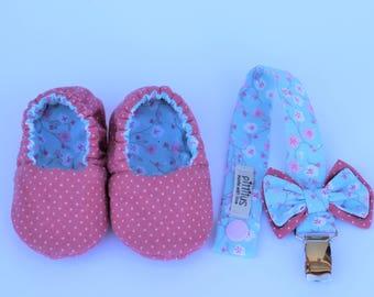 Newborn baby girl, Pacifier clip, Baby moccasins, newborn shoes, baby shower girl, dummy clip, Toddler shoe girl, paci clip, baby shower