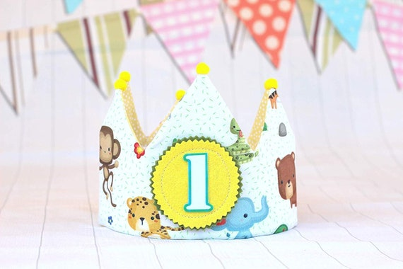 Birthday crown with number forest animals with bobbles children/'s birthday