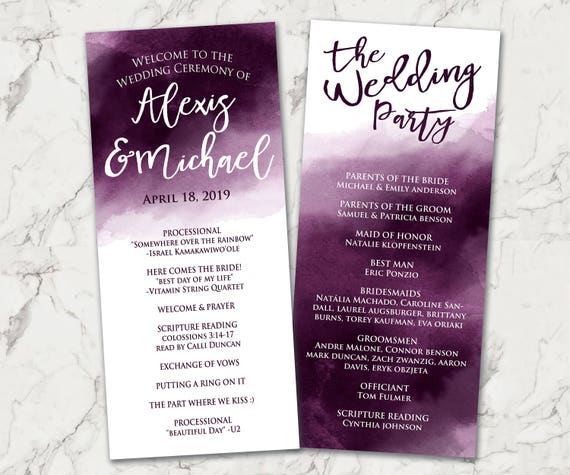 purple wedding program template watercolor wedding program etsy