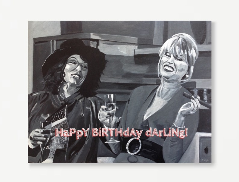 AB FAB greeting card  Absolutely Fabulous birthday card  image 0