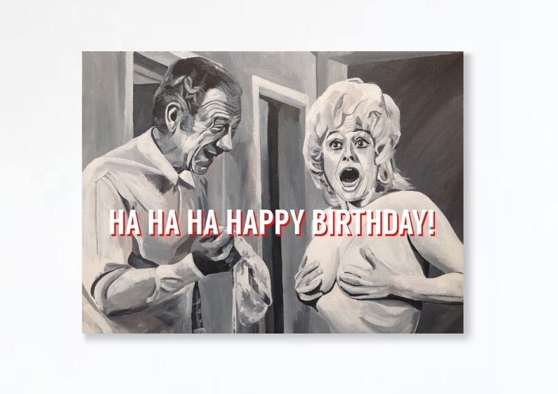 CARRY ON birthday card  Sid James and Barbara Windsor  Carry image 0