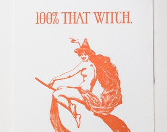 100% That Witch letterpress card