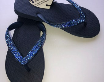 31ee9b9a637142 Swarovski crystal flip flops in Navy Blue with over 575 genuine