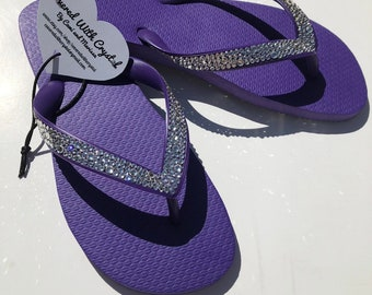 0587ca4d92382 Swarovski crystal flip flops in Purple with over 575 handset