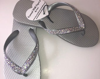 fedde51f6 Swarovski crystal flip flops in Metallic Silver with over 575 genuine