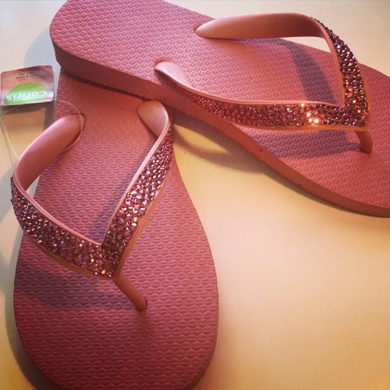 7b0068984 Swarovski crystal flip flops in Bubblegum Pink with over 575