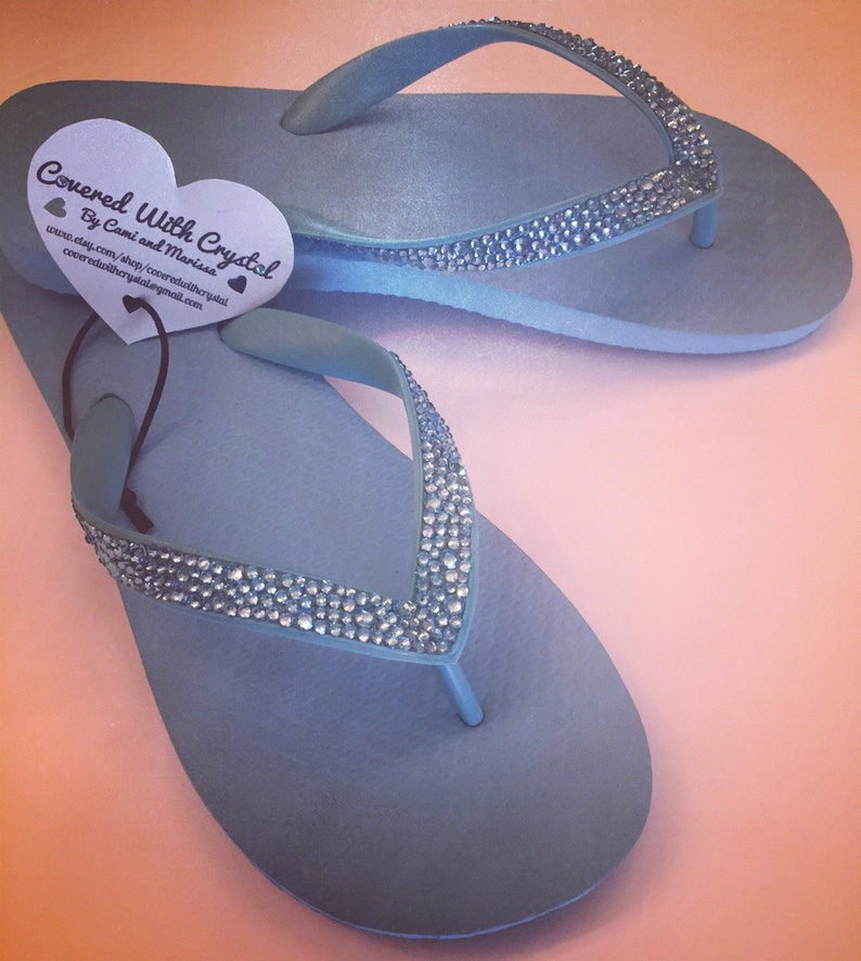 d1b3448ee Swarovski crystal flip flops in Sky Blue with over 575