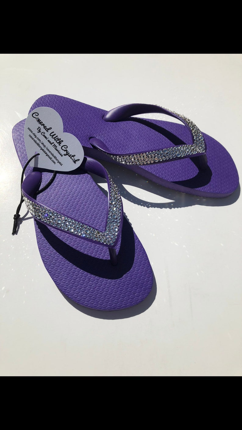 d665aa1d6 Swarovski crystal flip flops in Purple with over 575 handset