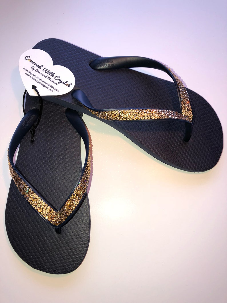 8ac54f58a Swarovski crystal flip flops in Navy Blue with over 575
