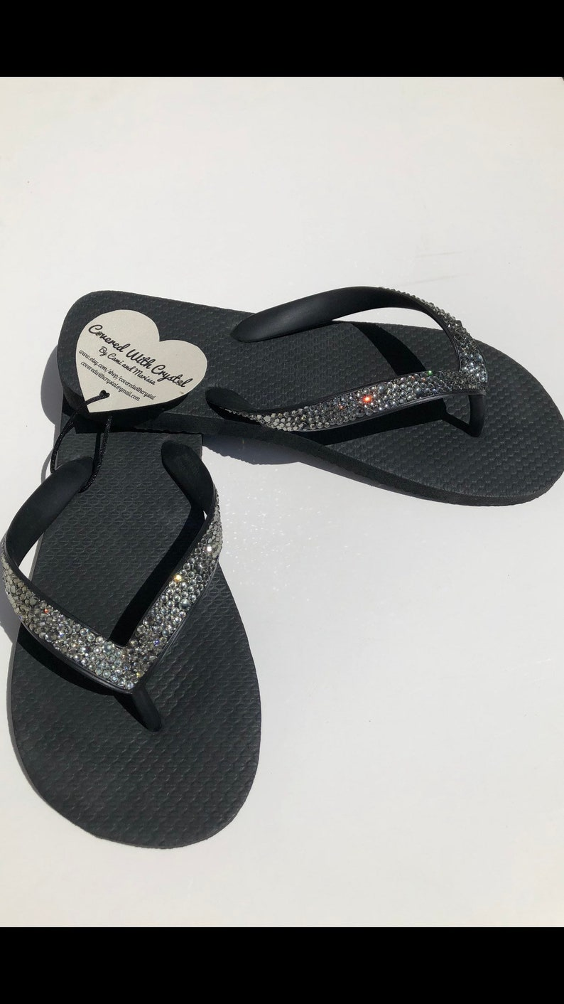 bfc46389c Swarovski crystal flip flops in Black with over 575 genuine