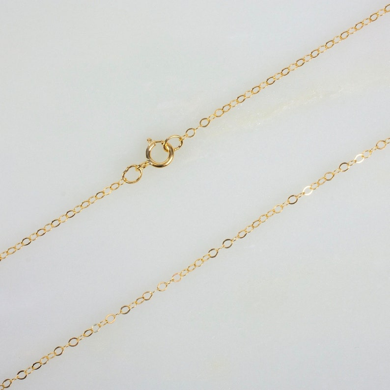14k Gold Filled Flat Cable Chain Necklace for Pendants 16 image 0
