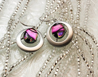 Pink Dichroic Earrings