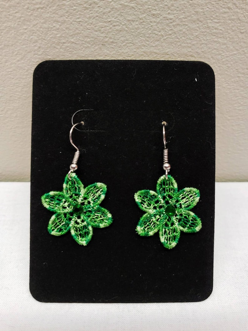 Flower Free Standing Lace Earrings with Green Ombre Embroidery Thread Crystals As Lightweight Can Be Made Clip On Earrings