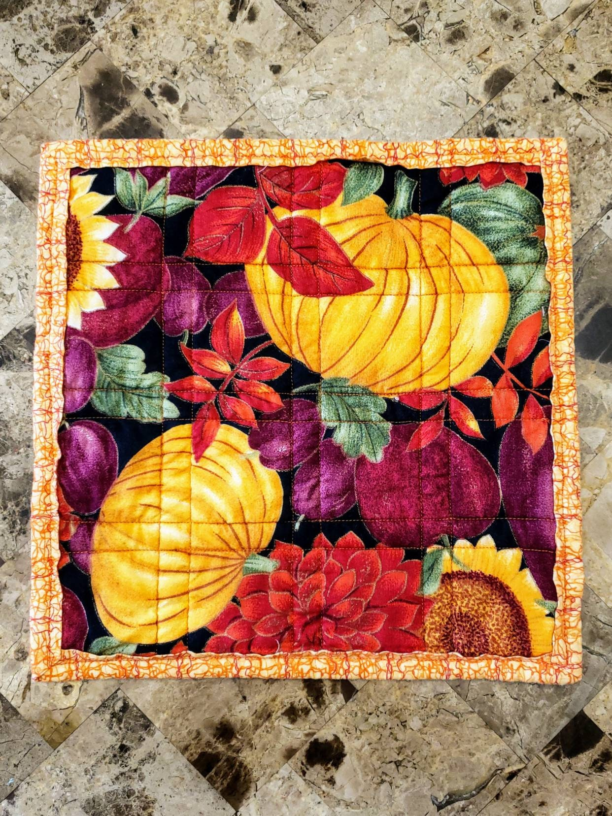Halloween Thanksgiving 11 Sq Quilted Pot Holder Hot Pad Mug Rug Snack Mat Candle Mat Placemat Coaster Shabby Chic Boho Chic Kitchen Decor