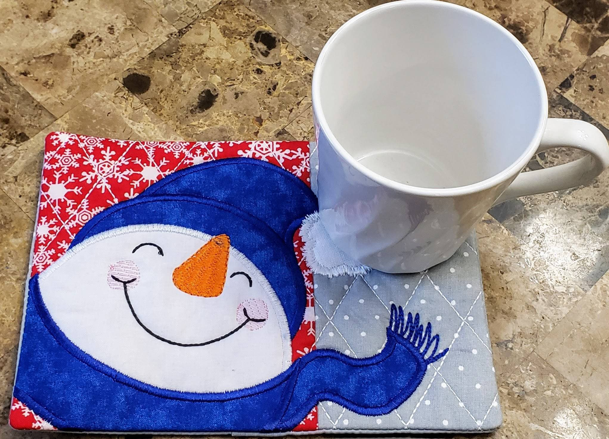 Embroidered Snowman Mug Rug Snack Mat Coaster Placemat Candle Mat Pot Holder Hostess Gift Ready To Ship