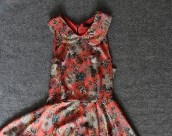 25% OFF silk dress / floral dress / peter pan collar