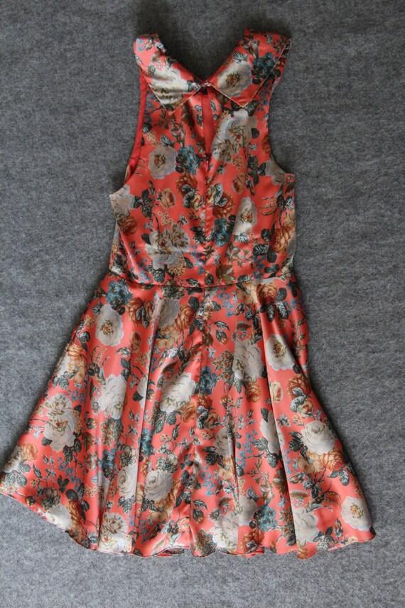 silk dress / floral dress / peter pan collar - image 4