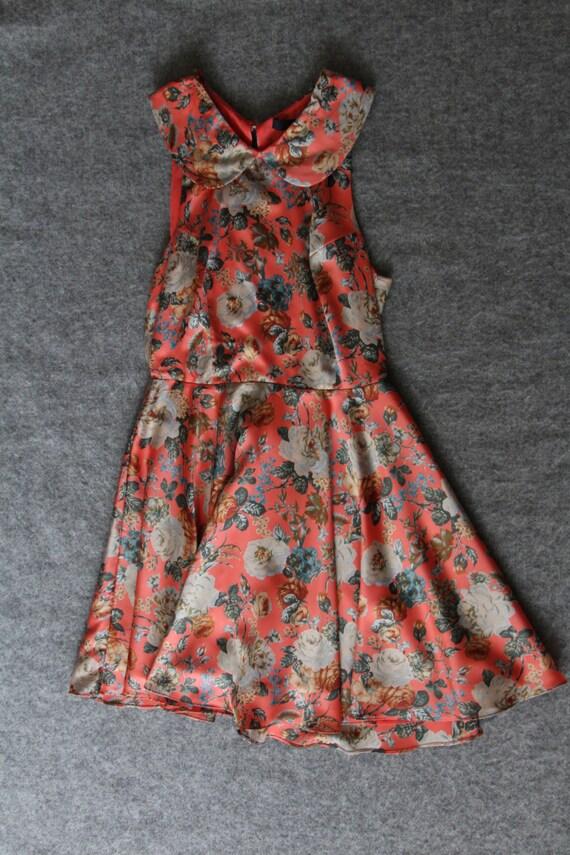 silk dress / floral dress / peter pan collar - image 3
