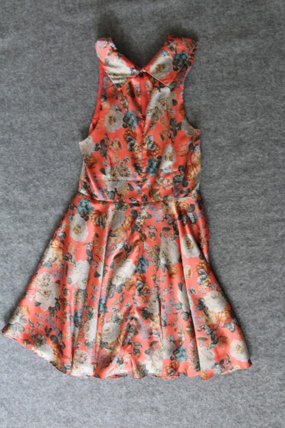 silk dress / floral dress / peter pan collar - image 2