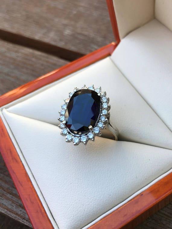 14k gold sapphire diamond vintage princess diana style etsy etsy