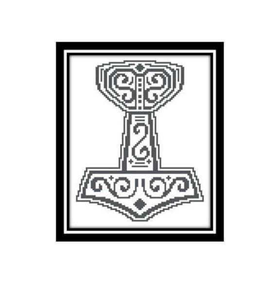 Viking Cross Stitch Pattern Thor Hammer Of Thor Mjlnir God Of Etsy