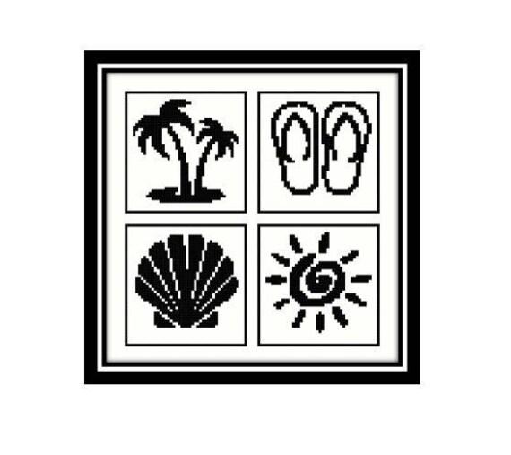 Beach Seaside Cross Stitch Pattern Palm Tree Sandals Flip Etsy