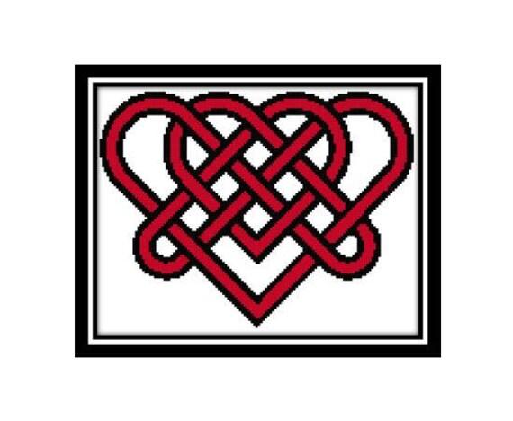 Love Heart Cross Stitch Pattern Celtic Heart Double Knot Etsy