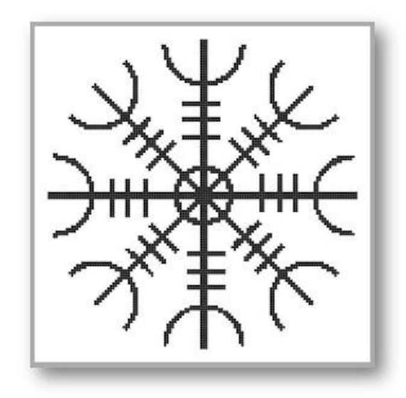 Viking Cross Stitch Pattern Helm Of Awe Protection Symbol Etsy Stunning Viking Patterns
