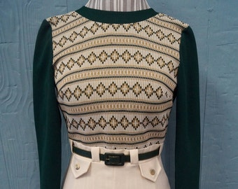1960s Patterned Green and White Dress - Belt - Zip Up - Christmas Party