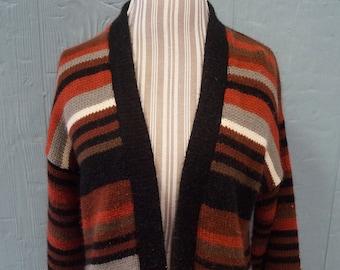Vintage Striped Cardigan Sweater - Size Large