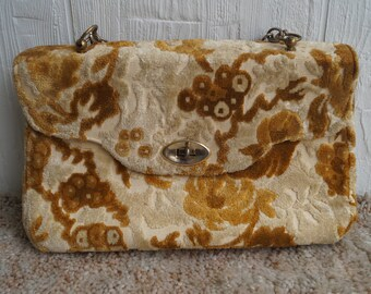 Floral Carpet Clutch - Vintage - Chain - Fabric - Tapestry